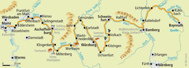 Karte Würzburg Und Umgebung.Der Main Radweg In Zwölf Mehrtägigen Etappen